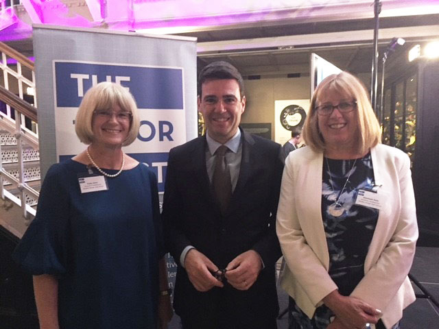 From left to right: Patsy Kane (Executive Headteacher at the Education and Leadership Trust), Andy Burnham (Mayor of Greater Manchester), Liz Hole (Academy Headteacher at Whalley Range 11-18 High School)