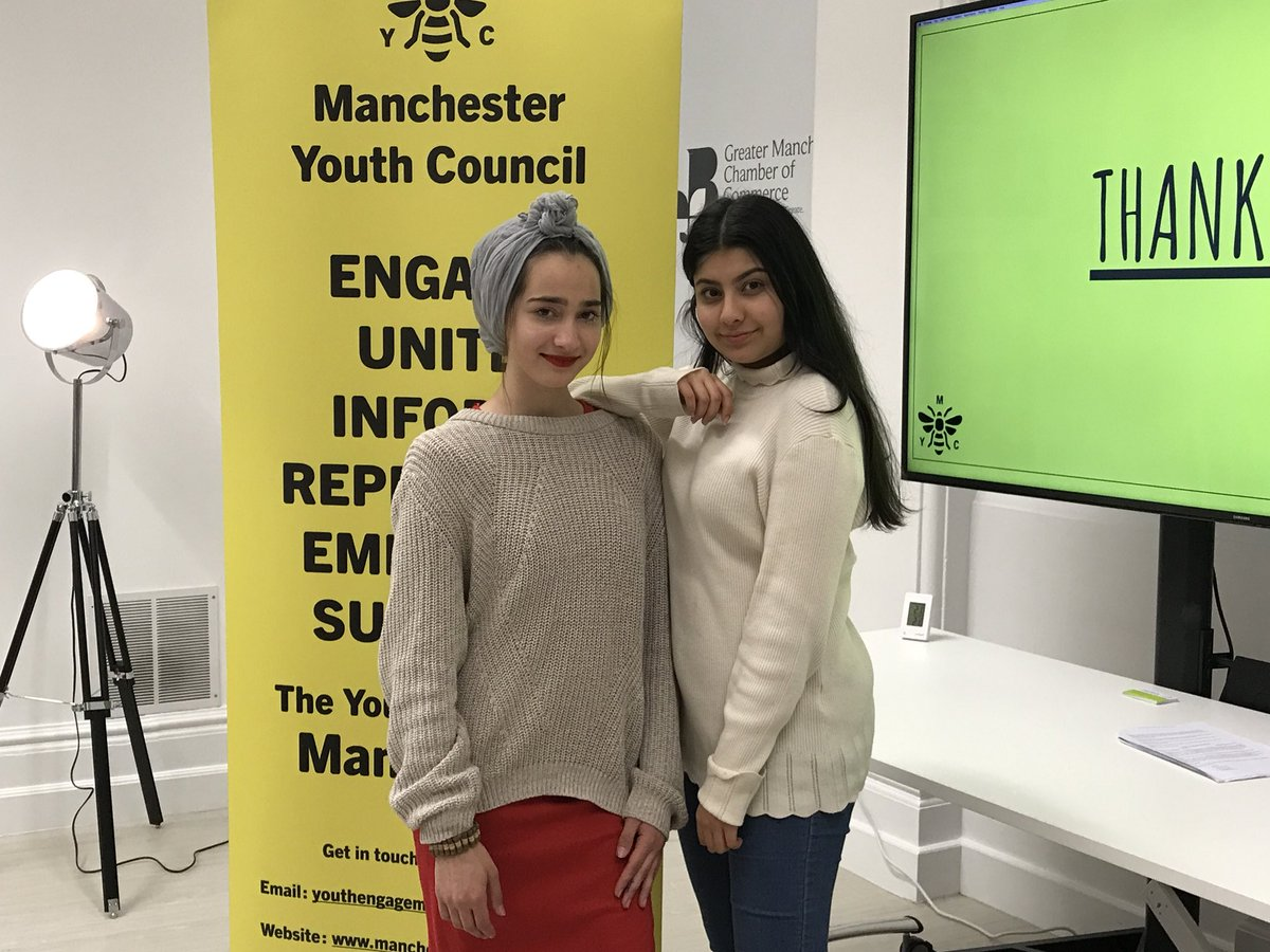 Sumayah (left) and Remsha (right) pictured at a Manchester Youth Council event. Photo courtesy of: Manchester Youth Council
