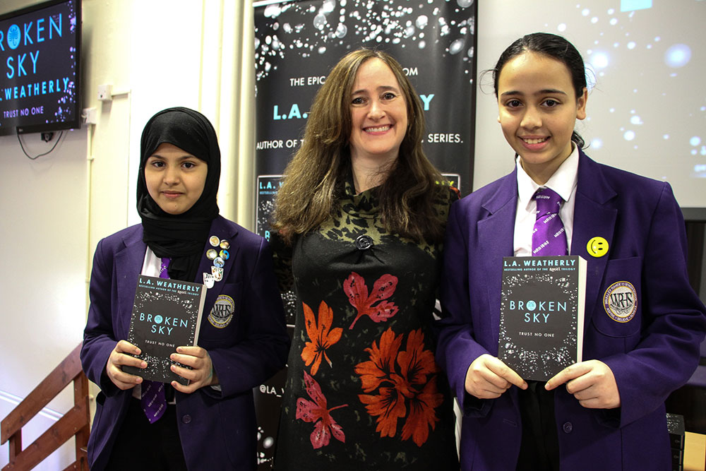 Author L.A. Weatherly advertises her book, Broken Sky, with Year 7 students for World Book Day 2016